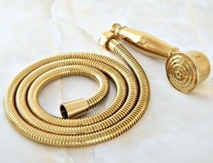 Image 3 - 1.5m זהב צבע פליז גמיש אמבטיה מקלחת צינור וטלפון סגנון כף יד מקלחת ראש mhh043