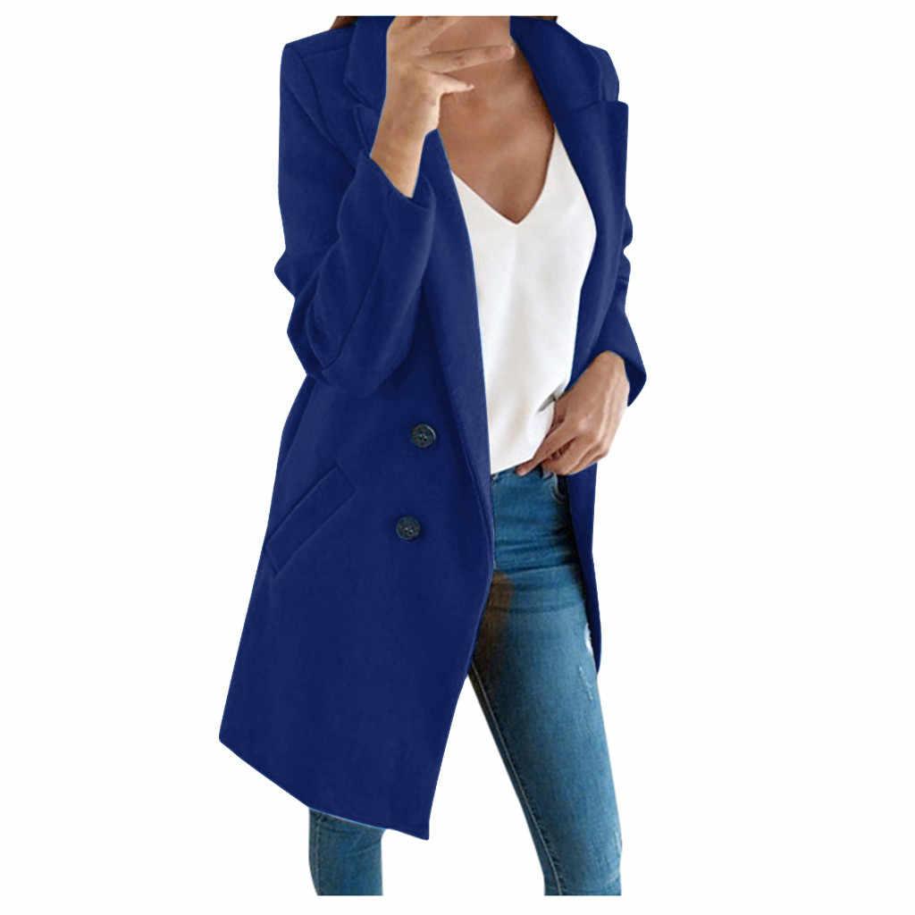 معطف الشتاء النساء الصوف معطف طويل أنيق مزيج معاطف ضئيلة الإناث معطف طويل ملابس خارجية جاكيتات جيوب غير رسمية زر سترة # YL10