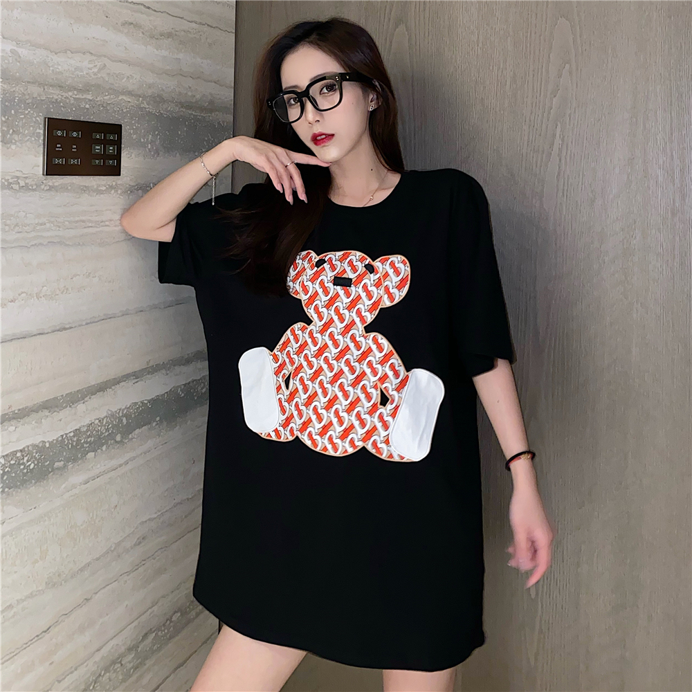 Women Oversized Bear Patchwork Leisure Cotton T Shirts Harajuku Short Sleeve O Neck Plus Size Streetwear Female Vogue Tops Tee|T-Shirts| - AliExpress