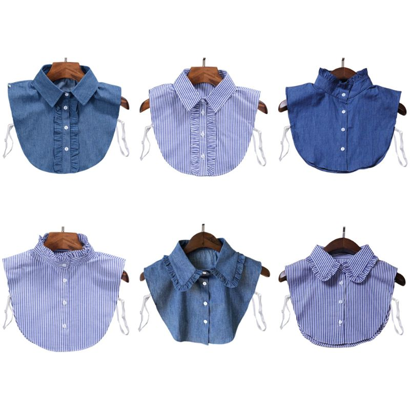 Women Stripes Denim Detachable Lapel Fake Collar Cute Doll Ruffles Lace Splicing Button Down False Half Shirt Blouse