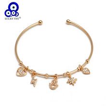 gold silver cuff upper arm bracelet bangle for women Lucky Eye Heart Fatima Hamsa Hand Star Moon Charm Bangle Rose Gold Silver Color Open Cuff Bracelet Gifts for Women Girls Jewelry