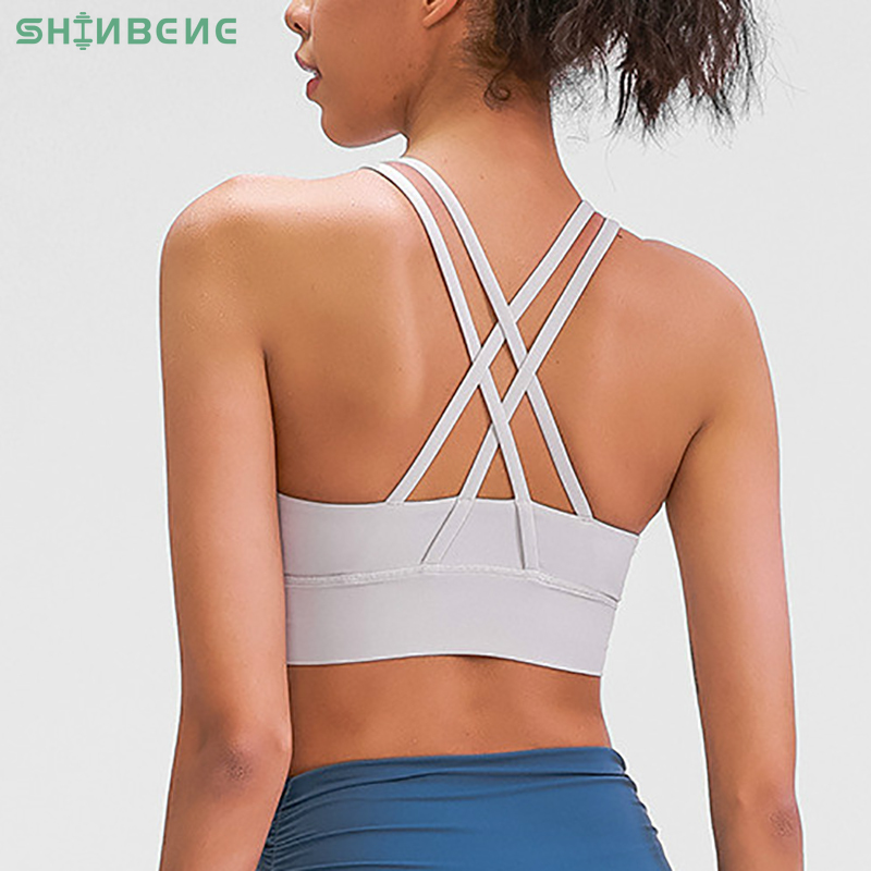 SHINBENE MUST-HAVE 2-Ply Cross Yoga Workout Sport Bra Tops Women Naked-feel Shockproof Push Up Running Gym Fitness Brassiere