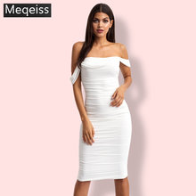 Meqeissb Sexy Double Layer Off Shoulder Women Party Dress White Backless Slim Pleated Bodycon Dress 2019 New Maxi Dress Vestidos(China)
