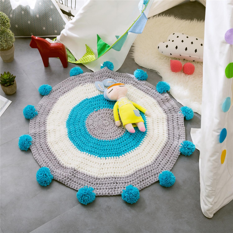 Boule faite main tissé tapis rond chambre d'enfants rayé couture tricoté laine tapis salon chambre décoration maison pad