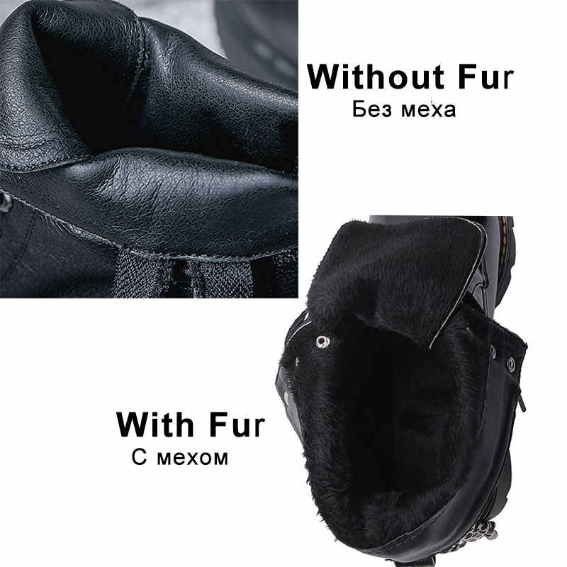 FITWEE Frauen Stiefeletten Nieten Patent Leder Punk Schuhe Frau Warme Pelz Täglichen Frühling Frau Winter Botas Schuhe Größe 34 -43