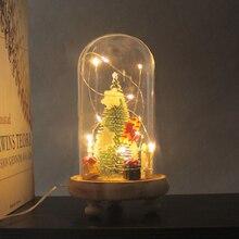 LED Night Light Christmas Tree Bells Desktop Ornament Modern Glass Dome Wooden Base Home Festive Decoration Gift цена 2017