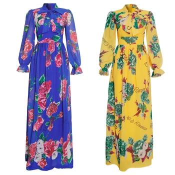 MD Dinner Dresses For Women 2021 New African Spring Summer Elegant Gown Flowers Printed Dashiki