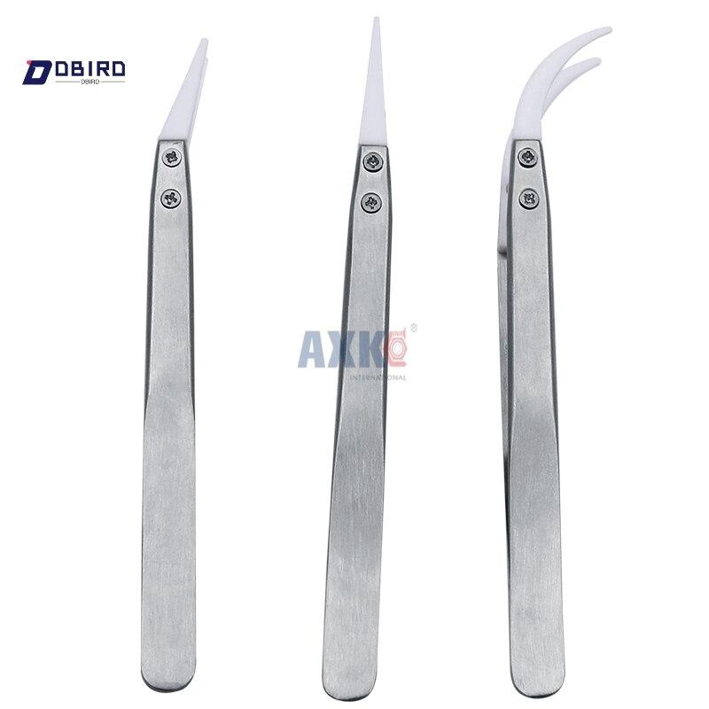 3pcs New Non Conductive Ceramic Tweezers IC SMD SMT Tweezers Heat Resistant 1000 Degree Hand Tools DBIRD