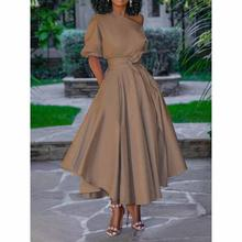 Brown Dress One Shoulder Plus Size 2020