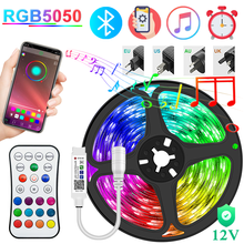 Bluetooth Led Strip 5-30M 5050 Rgb Led Lights Flexible Background Neon Diode Tape 12V Phone Control Lamp Wall Room Decoration