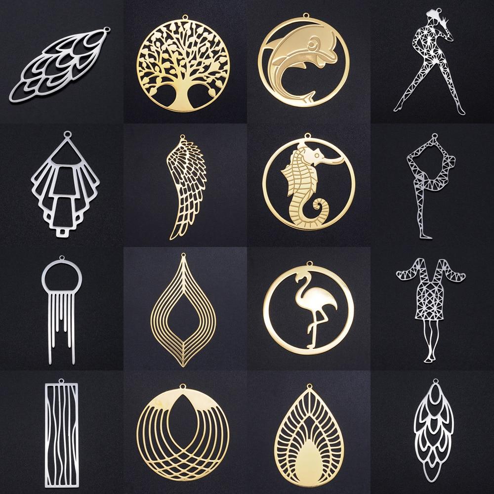 3pcs/lot Unique Dream Catcher Yoga Fashion Earring Pendant Wholesale 100% Stainless Steel Tree of Life Angel Wing Charm Pendants