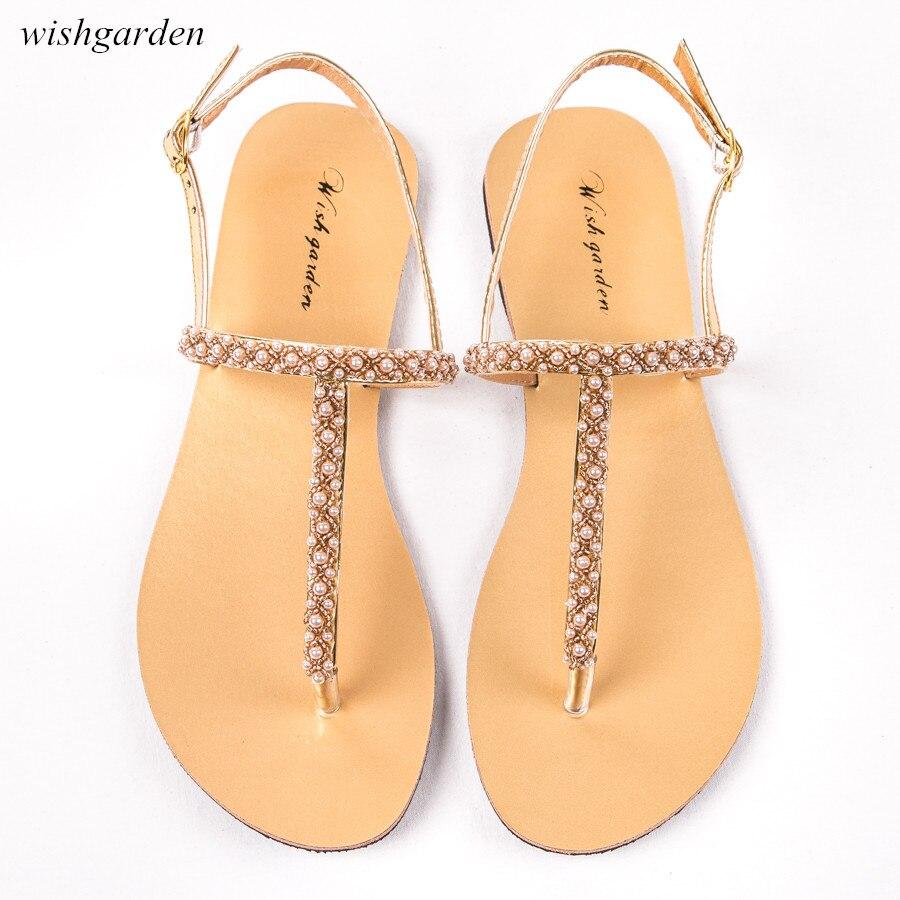 2020 NEW Women`s Fashion summer bohemia pearl sandals women Casual beach shining  boho shoes T-strap thong flip flops Slippers