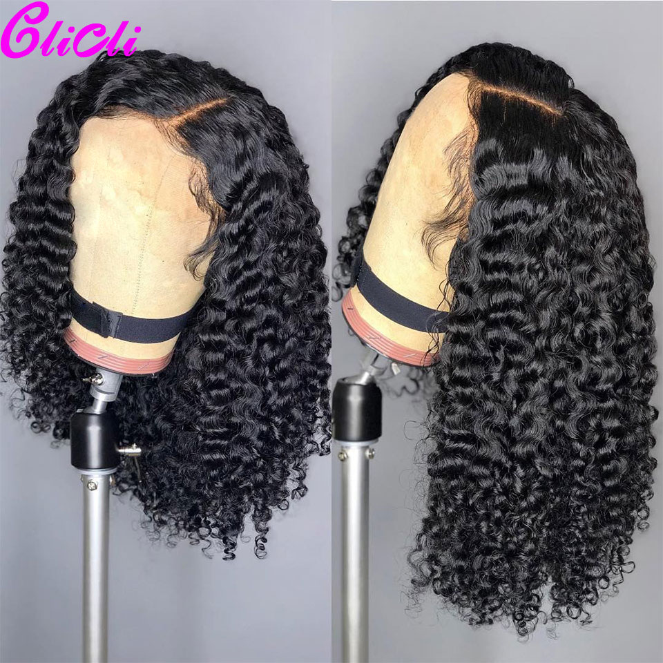 13X4 13X6 Brazilian Kinky Curly Transparent Lace Front Wig Remy 360 Lace Frontal Human Hair Wigs For Women Short Bob Wigs 150%