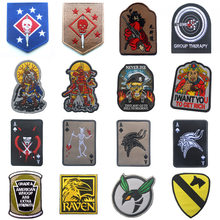 High Quality 100% Embroidered Armband Patch Epaulettes Shark Warrior Punisher Mammon Viking Badge Badges Patches