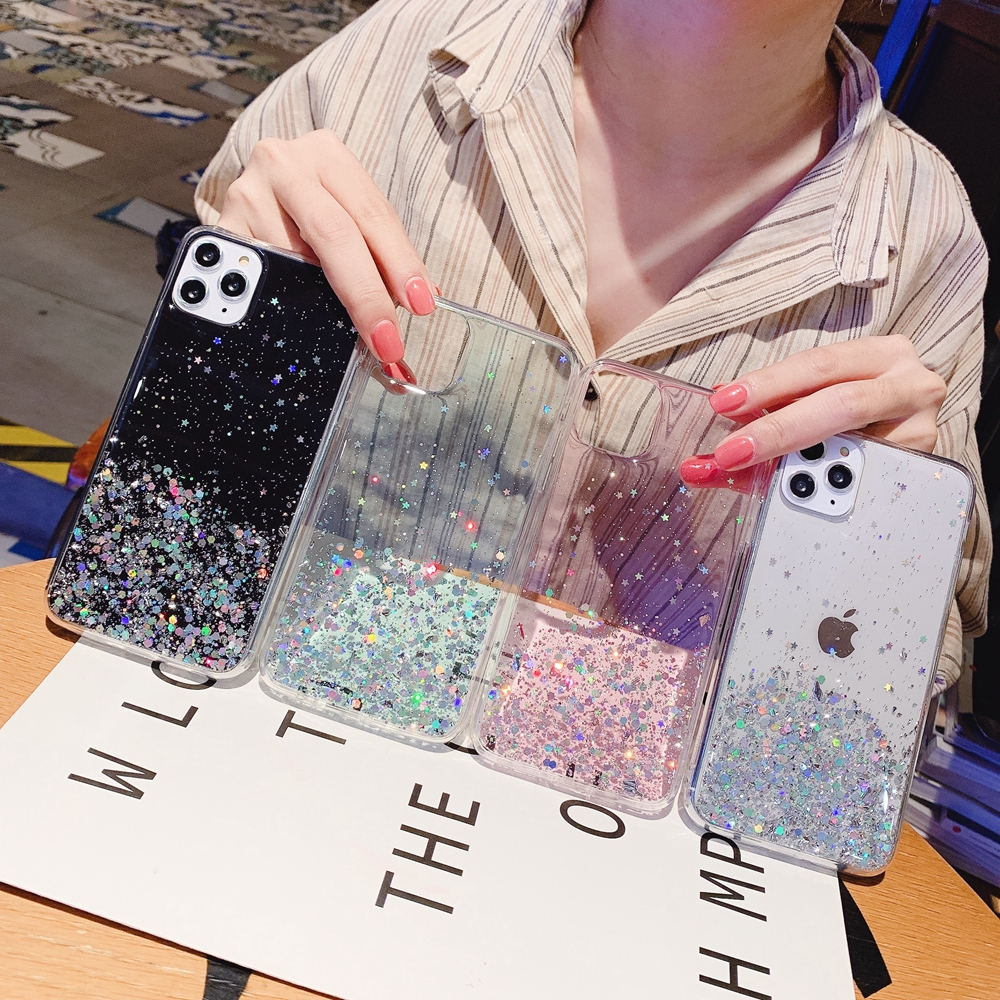 H54f252e07cd848508d26e297235fecb70 - Solid quicks Case For iphone 11 8 7 Plus 6 6s Glitter Bling Sequins Epoxy Star Case For iphone 11 Pro MAX X XR XS Soft TPU Cover