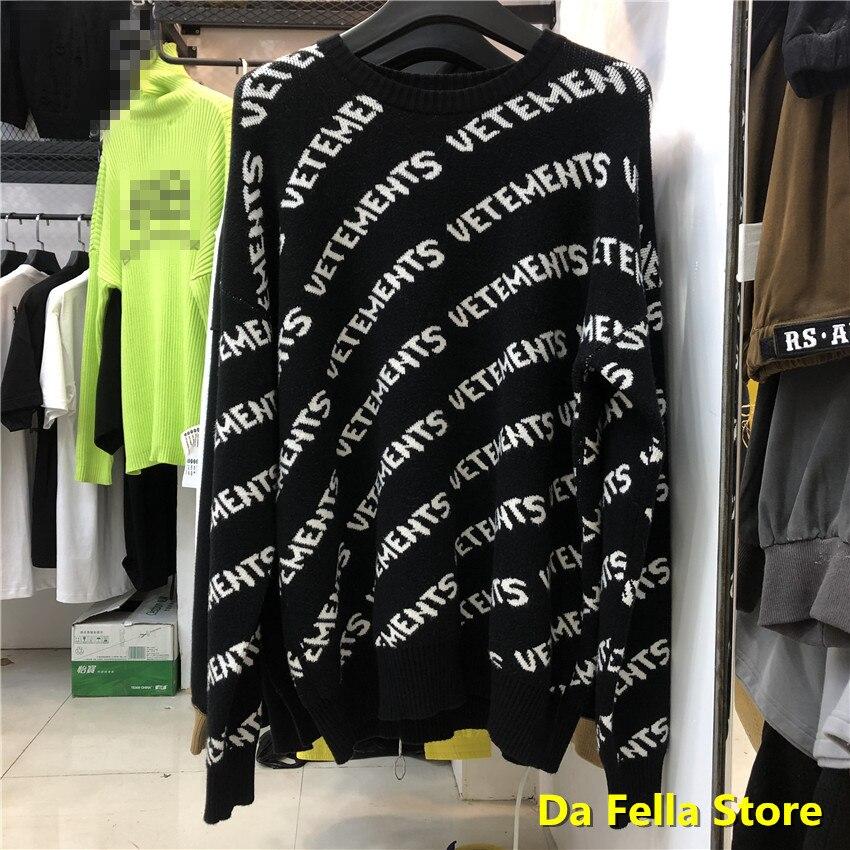 VETEMENTS Black Allover Logo Sweatshirts 2020 Men Women Vetements Crewneck Hoodie US Size Thick material VTM Hoodies Inside Tag