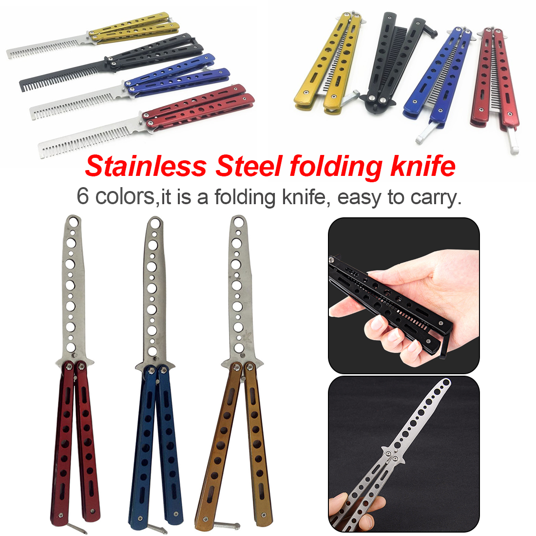 Stainless Steel Practice Dull Blade Flail Combat Fight Fold Mariposa Train Butterfly Balisong Knife Comb Trainer image