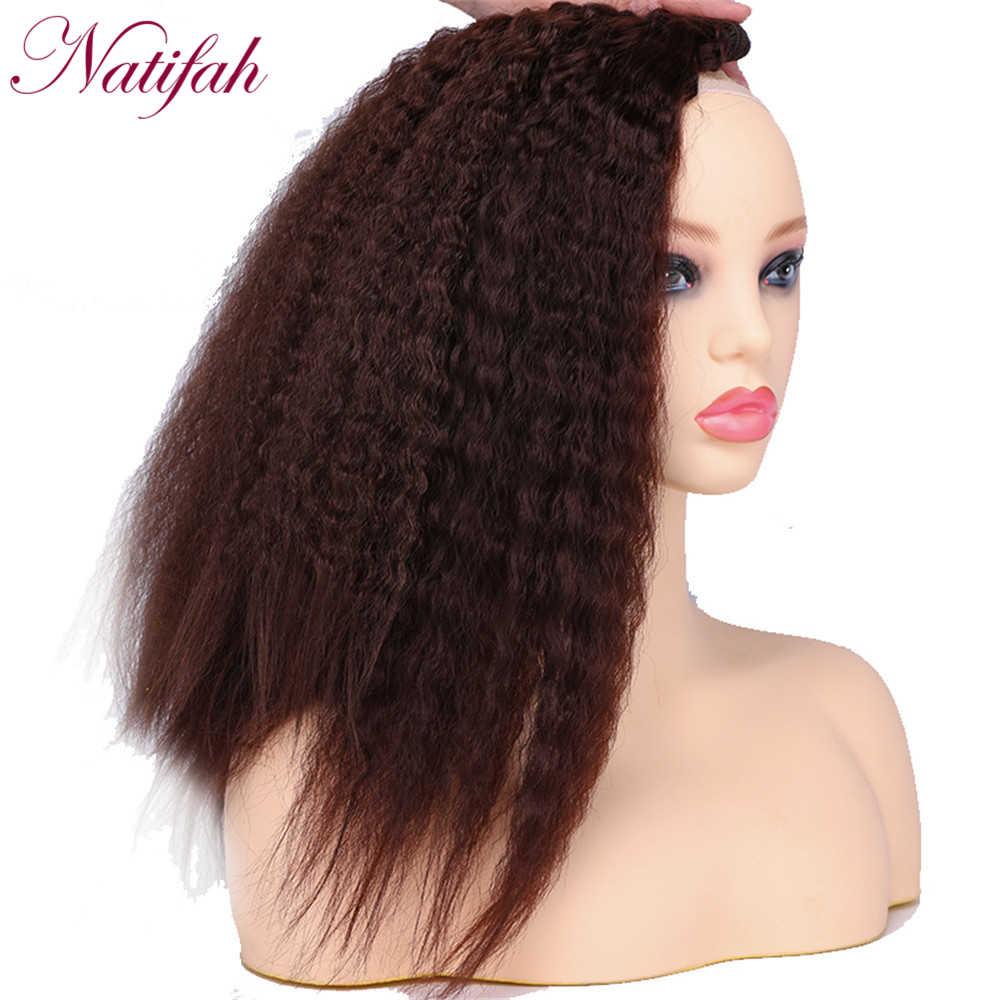 Natifah kinky cabelo liso pacote 16 18 20 Polegada tecer sintético kinky curly pacote 70 g/pçs vermelho marrom prata cinza pacotes de cabelo
