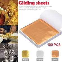 100 pçs arte artesanato design papel imitação de ouro tira folhas folha cobre folhas folha papel para dourado casa diy artesanato decoração