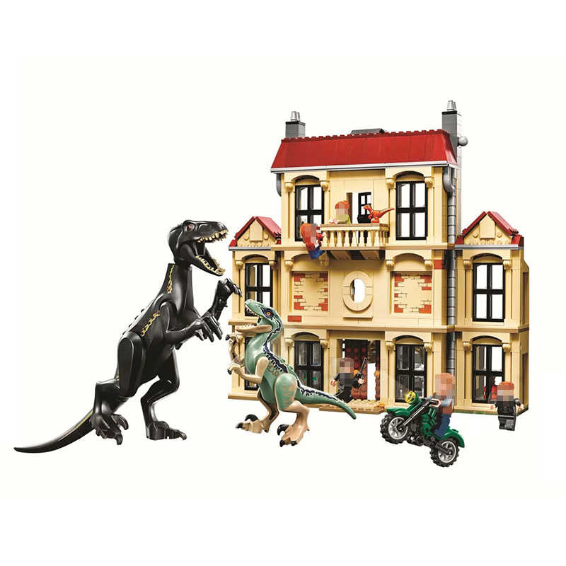 Bela 10928 1046pcs Jurassic World ไดโนเสาร์ Indoraptor Rampage ที่ Lockwood Estate Compatible Building Block ของเล่น