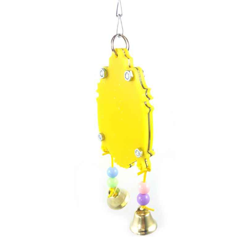 Jouet perroquet pour oiseaux | Avec 2 cloches mobiles suspendues, Cage pour animaux de compagnie colorée, jouets ou perrutres fournitures pour oiseaux canaries C42