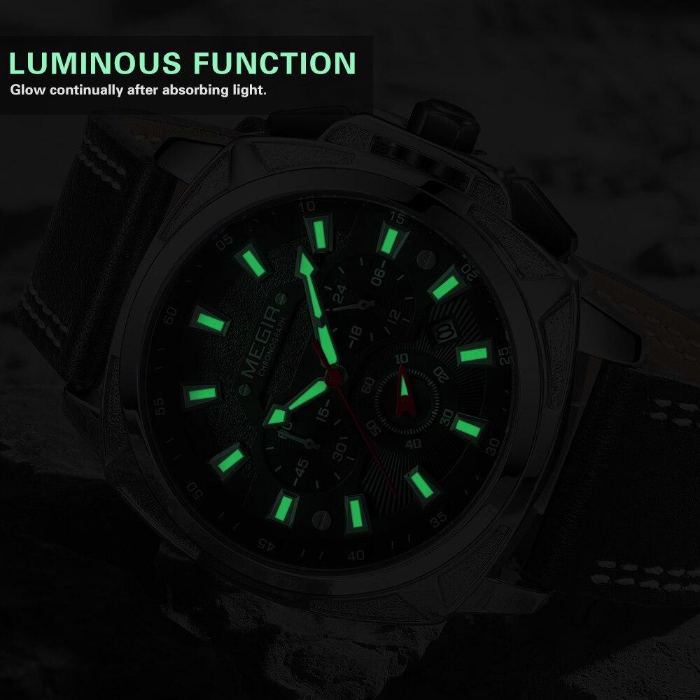 Image 3 - MEGIR 2020 новые мужские часы, мужские модные спортивные часы с кожаным ремешком, кварцевые деловые наручные часы, Reloj HombreСпортивные часы   -