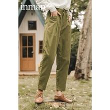 Trousers INAMN Slacks Spring Elastic-Waist Loose Straight Women Cotton with Radish Slimming