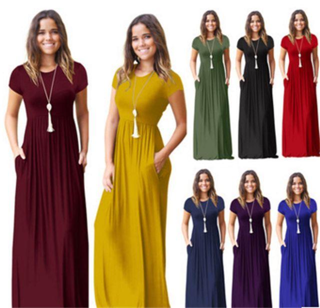 Pregnant Womens Nursing Solid Maternity Dress 6