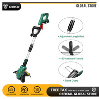 DEKO DKGT06 20V Cordless Grass Trimmer 1500mAh Lithium Battery Adjustable Length Angle with Blade Pendants and Battery Pack