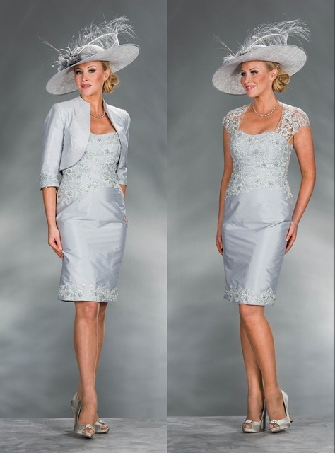 Silver Mother Of The Bride Dresses Sheath Knee Length Lace Beaded With Jacket Plus Size Short Groom Mother Dresses For Wedding
