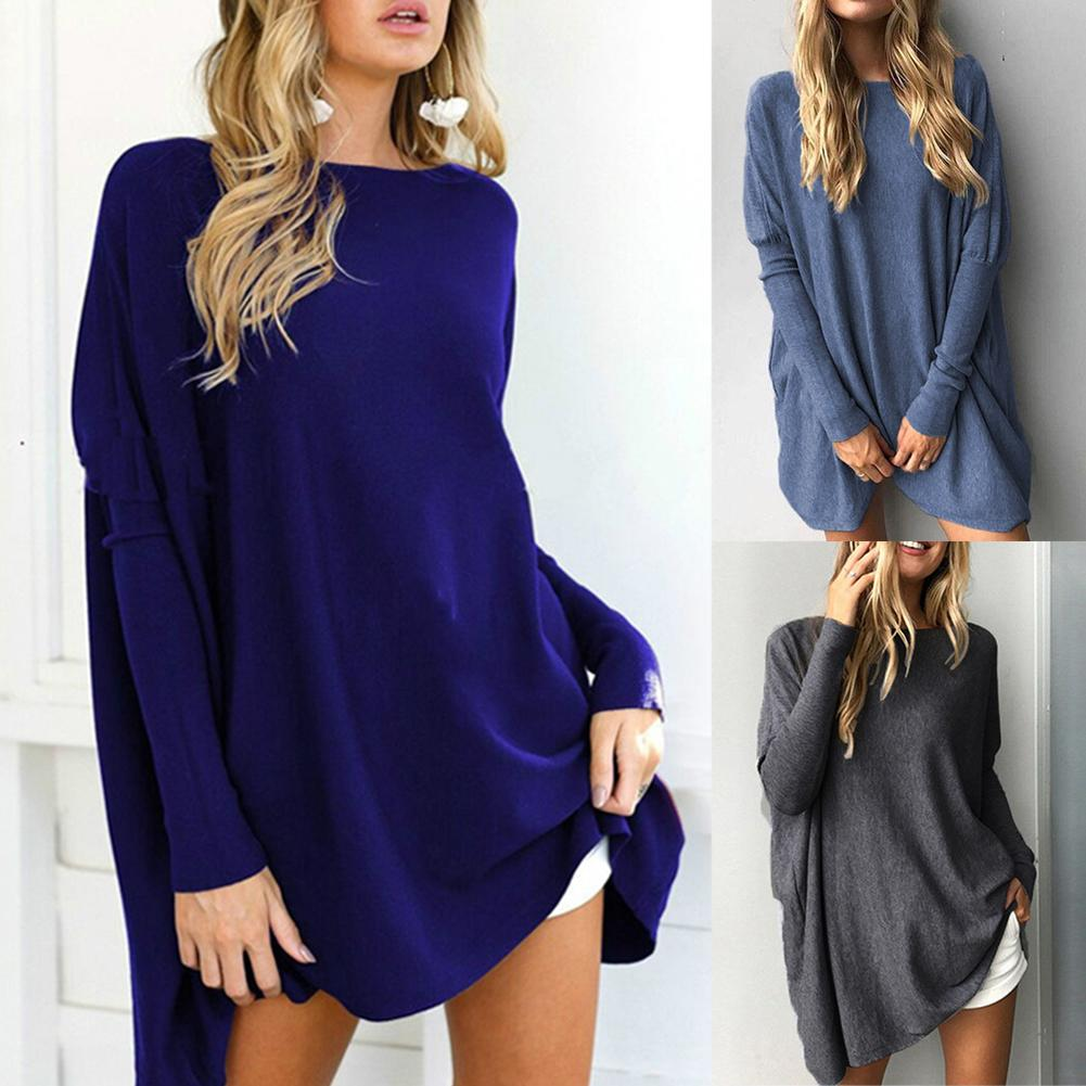 Women Casual Loose Solid Color Long Sleeve Round Neck Pullover Blouse Top Shirt