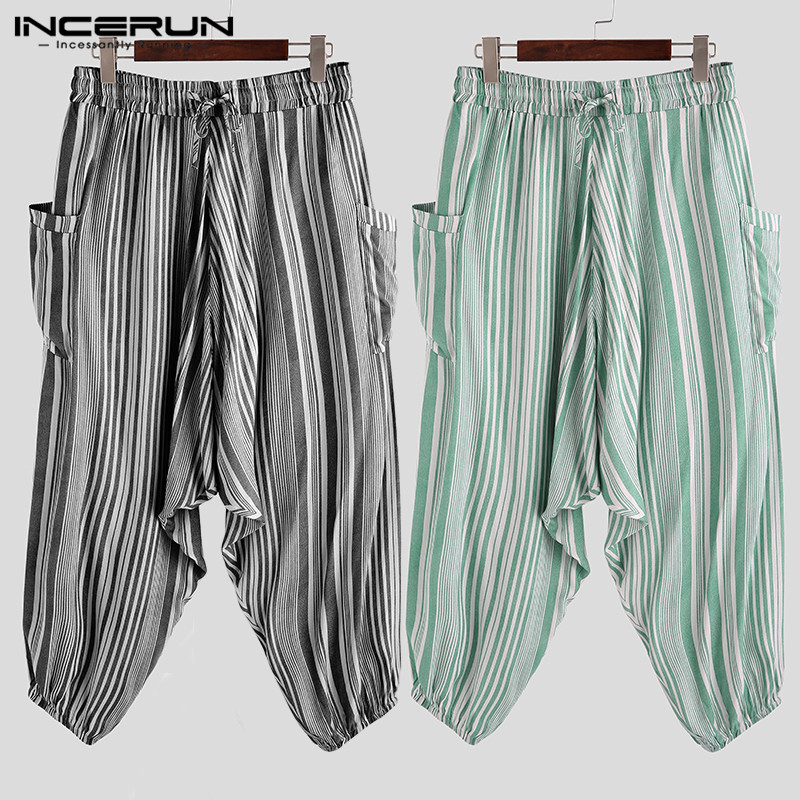 INCERUN Men Vertical Stripes Baggy Bottoms Pockets Wide Leg Pants Casual Hip-Hop Lacing Harem Trousers Pantalones Hombre 5XL