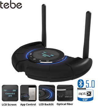 tebe 120M Long Range Bluetooth Receiver Transmitter LCD Display aptX Low Latency Wireless Audio Adapter With 3.5mm Aux SPDIF
