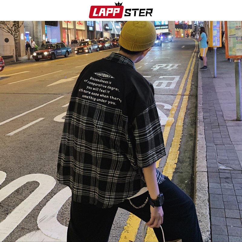 LAPPSTER Mens Plaid Patchwork Hawaiian Shirts Short Sleeve 2020 Mens Japanese Streetwear Oversized Blouse Male Summer Shirts