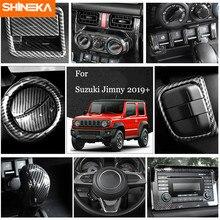 SHINEKA için karbon Fiber çıkartmalar Suzuki Jimny araba iç merkezi kontrol dekorasyon kapak Suzuki Jimny 2019 + araba Styling