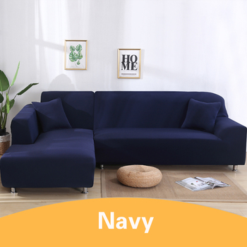 2Pcs Sofa Cover for Living Room Couch Cover Elastic L Shaped Corner Sofas Covers Stretch Chaise Longue Sectional Slipcover - Navy Blue, 3-Seat and 4-Seat
