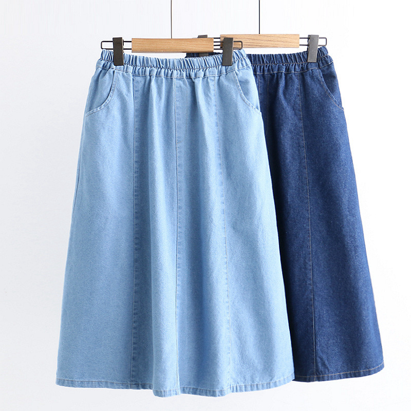 Spring Clothing New Style WOMEN'S Dress Literature And Art Hipster Loose-Fit Denim Skirt Mid-length Solid Color A- Line Skirt Su