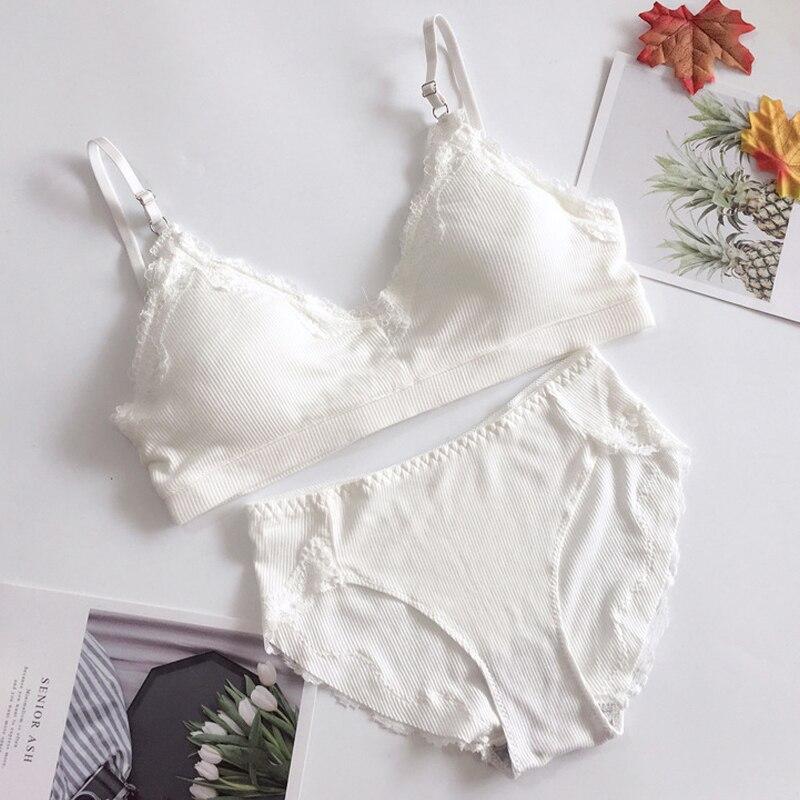 Cotton Bras Briefs For Women Sexy Lingerie Push Up Wireless Bralette Breathable Comfortable Underwear Set Free Size #F