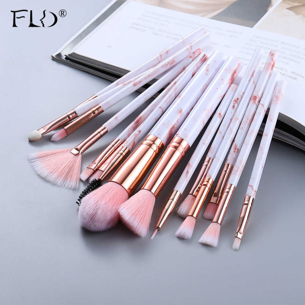 FLD5/15Pcs Makeup Brushes Alat Set Kosmetik Bubuk Eye Shadow Foundation Blush Blending Kecantikan Make Up Maquiagem