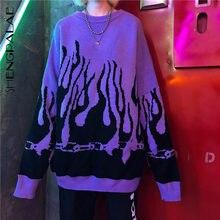 SHENGPALAE-suéter de manga murciélago para mujer, suéter de punto Harajuku con estampado de llama, suéter largo informal, jerséis holgados