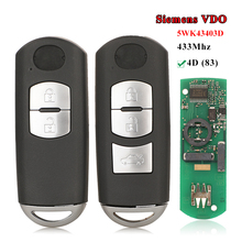 jingyuqin VDO System Smart Remote Car Key 2/3 Button 433MHz 4D (83) Chip FOB for Mazda 2/6 2014+ 5WK43403D