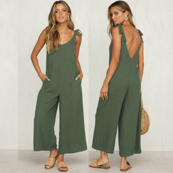 Women Rompers 2020 Summer new Ladies Casual Clothes Loose Linen Cotton Jumpsuit Sleeveless Backless Playsuit Trousers Overalls 1