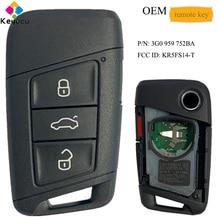 KEYECU 3G0 959 752BA KR5FS14 T OEM الذكية التحكم عن بعد سيارة مفتاح 3 + 1 4 أزرار فوب لفولكس واجن أطلس باسات 2018 2019 2020