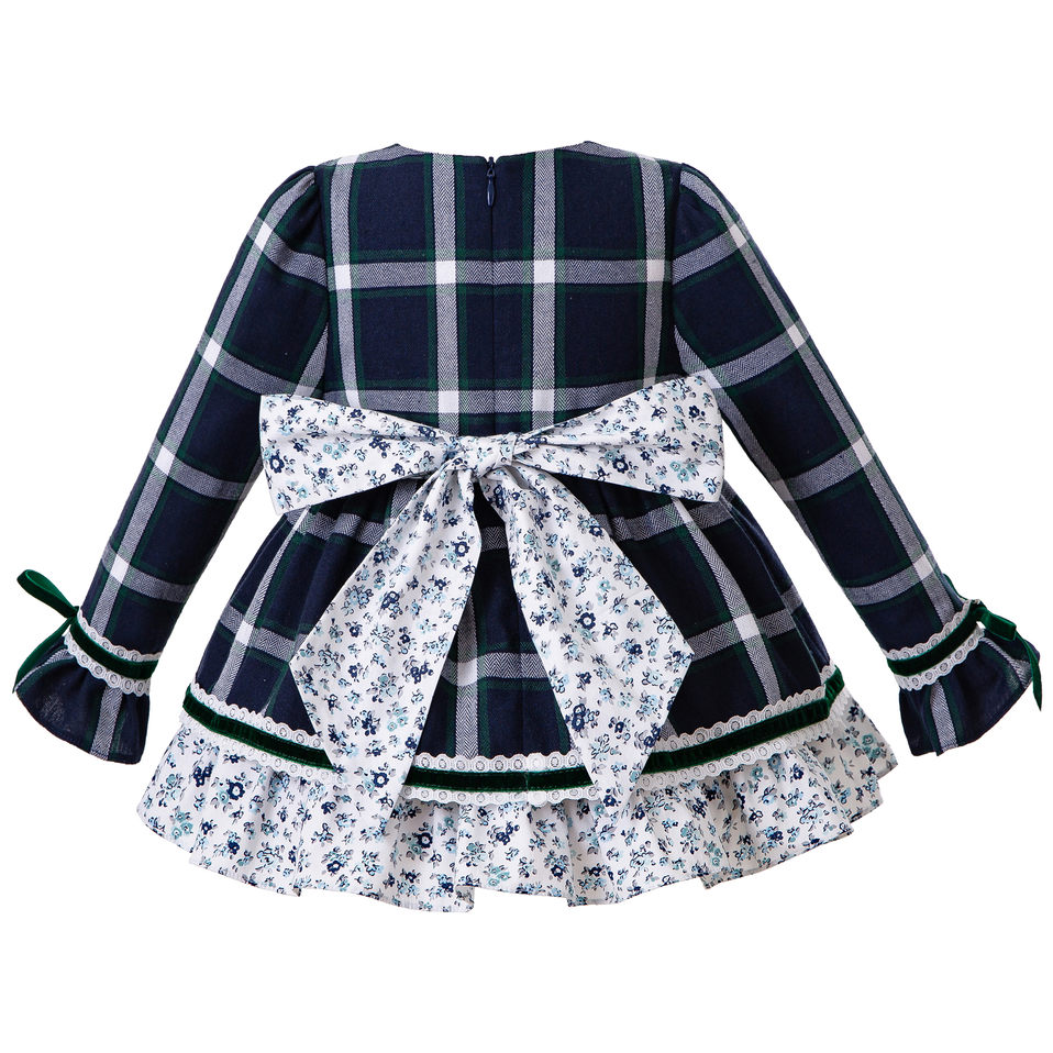 Pettigirl  Christmas Baby Girls Outfit Dress With Bow White Grid Autumn Dresses+PP pants+Bonnet Girls Clothing Kid Winter Dress