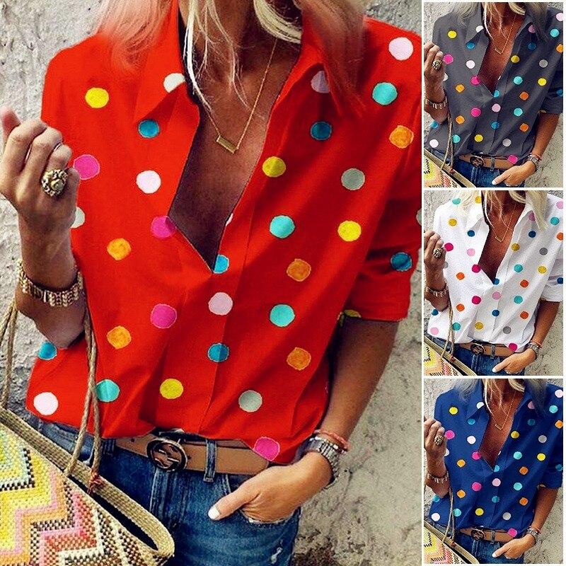 2019 Spring Chiffon Tops Women Long Full Sleeve Blouses Dots Casual Ruffles Sexy Large Elegant Loose 5XL Big Plus Sizes Shirts