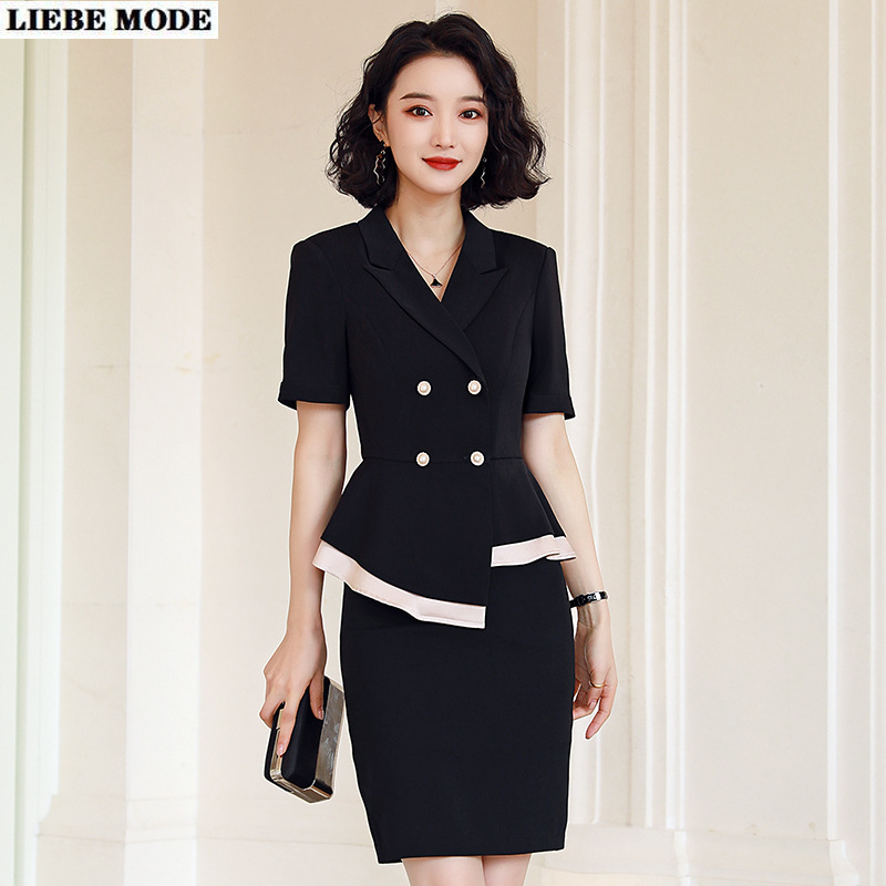 Womens Fashion Formal Work Wear Summer Skirt Suit Female Short Sleeved Irregular Blazer and Skirt Black White Plus Size 5XL