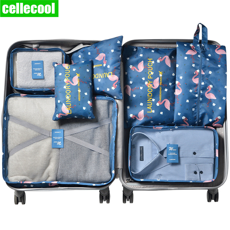 Cellecool 7Pcs/set Home Travel Accessories Travel Organizer Suitcase Clothes Finishing Kit Portable Partition Pouch Storage Bags