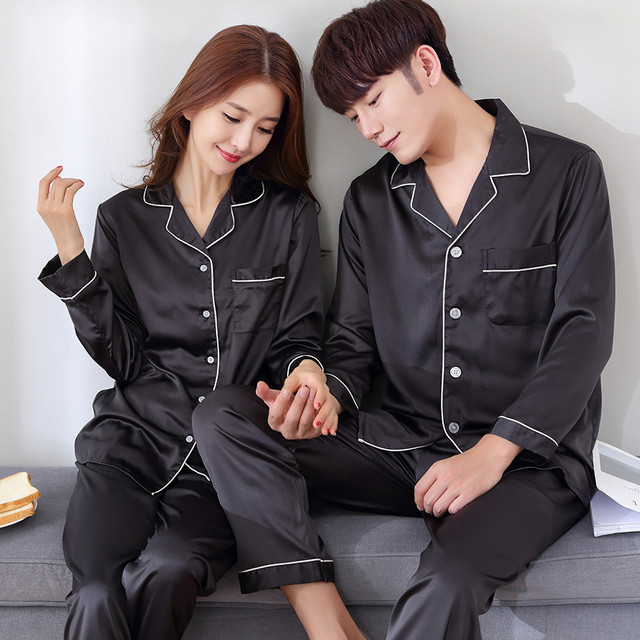 Black Men Nightwear Shirt Pants Sleep Pajamas Sets Long Sleeve Sleepwear Spring Autumn Silky Nightgown Robe Clothes L XXXL