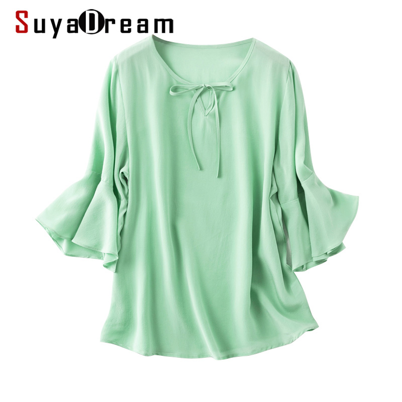 SuyaDream Women Silk Blouse 100%Real Silk Solid Butterfly Sleeves Round Collar Blouses 2020 Summer Shirt