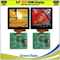 4,0 720X720/480X480 1:1 HDMI a MIPI IPS Pantalla de Monitor de módulo LCD con Panel táctil capacitivo USB